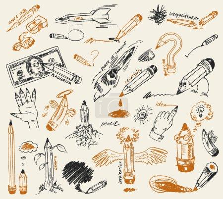 Illustration pour Dessin au crayon. Dessiné à la main. Illustration vectorielle - image libre de droit