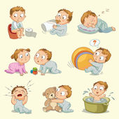 A baby sitting on the pot drinks milk from a bottle sleeps on a pillow little boy playing with a little girl playing with a big ball hugging a teddy bear wash in a bath tub vector illustration