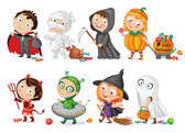 Happy Halloween Funny little children in colorful costumes Dracula Grim Reaper Devil mummy alien witch ghost Vector illustration Icon