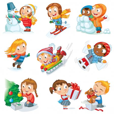 Photo for Winter holidays. Little girl sculpts snowman, skating, skiing, sledding, dresses up Christmas tree, boy received a gift of a puppy, makes a snow angel, children playing in snowballs, vector set - Royalty Free Image