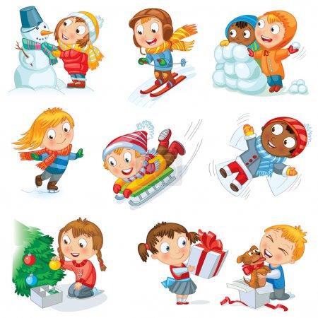 Foto de Vacaciones de invierno. niña esculpe muñeco de nieve, patinaje, esquí, trineo, vestidos de árbol de Navidad, niño recibió un regalo de un cachorro, hace que un ángel de nieve, niños jugando en bolas de nieve, conjunto de vectores - Imagen libre de derechos