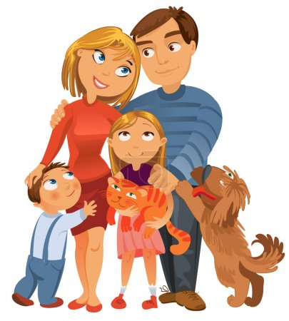Illustration for Happy family of four and two pets, posing together, vector illustration - Royalty Free Image