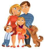 Famiglia felice di quattro e due animali domestici
