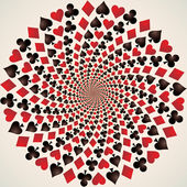 Card suit Hearts diamonds spades and clubs Playing cards Op art Vector illustration