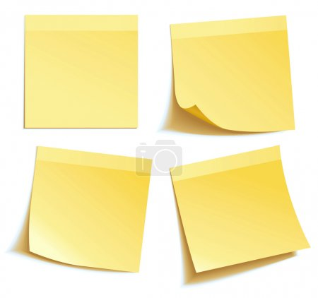 Illustration for Yellow stick note isolated on white background, vector illustration - Royalty Free Image
