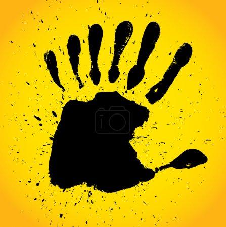 Illustration pour Impression avec sept doigts, illustration vectorielle de la main - image libre de droit