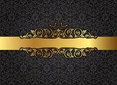 Vintage gold frame on damask black background