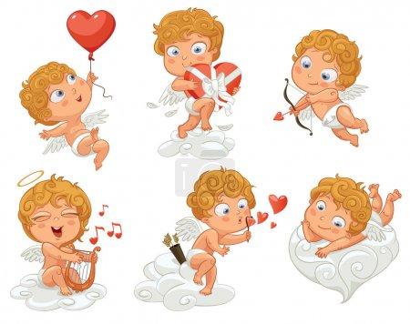 Illustration pour Cupidon s'allonge ludique sur un nuage, volant dans un ballon en forme de cœur, tenant une boîte de chocolats, tire un arc, jouant de la musique sur la lyre, souffle des bulles. Illustration vectorielle. Fond blanc - image libre de droit