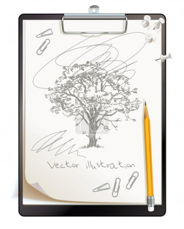 Black clipboard with a painted sketch