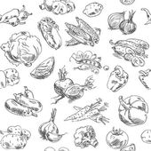 Freehand drawing vegetables Seamless pattern