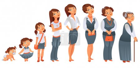 Photo for Generations woman. All age categories - infancy, childhood, adolescence, youth, maturity, old age. Stages of development. Vector illustration - Royalty Free Image