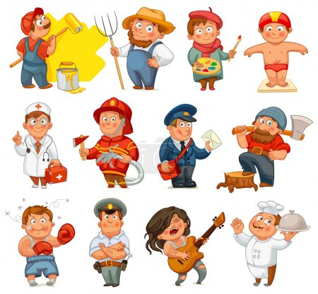Photo for Professions. Builder, painter, rocker, woodcutter, swimmer, cook, farmer, postman, policeman, boxer, doctor, fireman. Vector illustration. Isolated on white background. Set - Royalty Free Image
