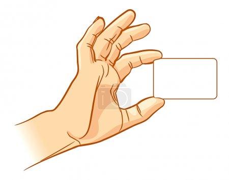 Illustration pour Main tenant une carte de visite vide. Illustration vectorielle. Isolé sur fond blanc - image libre de droit