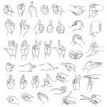 Hands in different interpretations. Vector illustr...