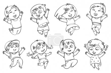 Children jump for joy. Coloring book