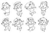 Children jump for joy. Coloring book
