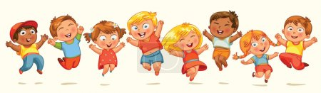 Photo for Children jump for joy. Banner. Vector illustration. Isolated on white background - Royalty Free Image