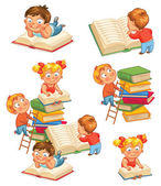 Children reading books in the library Vector illustration Isolated on white background Set