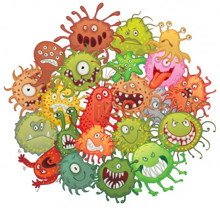 The accumulation of bacteria