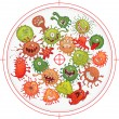 Germs and bacteria at gunpoint. Vector illustratio...