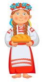Ukrainian girl meets honored guests with bread and salt Young Woman in Ukrainian Clothes Holding loaf Vector illustration Isolated on white background