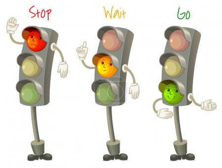 Illustration for Traffic light. Follow the rules of the road. Rules for pedestrians. Vector illustration. Isolated on white background - Royalty Free Image