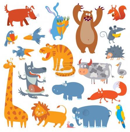 Illustration pour De jolis animaux de zoo. Illustration vectorielle. Isolé sur fond blanc. Ensemble - image libre de droit