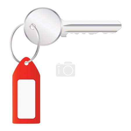Vector illustration of house key with label