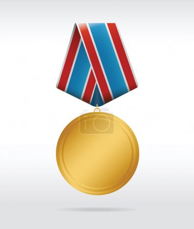Illustration for Golden medal with thee color ribbon. Vector illustration - Royalty Free Image