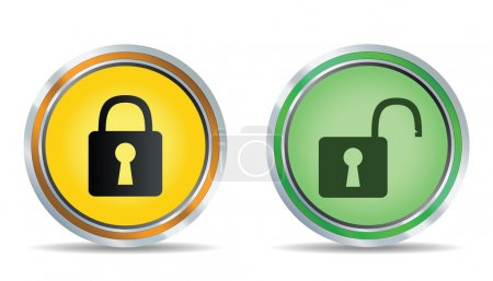 Circle lock icon. Vector illustration