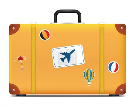 Vintage suitcase with funky stickers. Vector illustration
