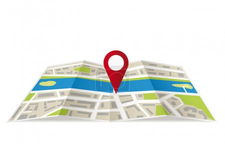 Navigation map with pin pointer. Vector illustration