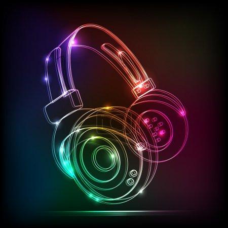 Vector neon Headphones, grunge music