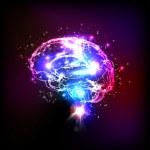 Abstract light human brain, vector illustration