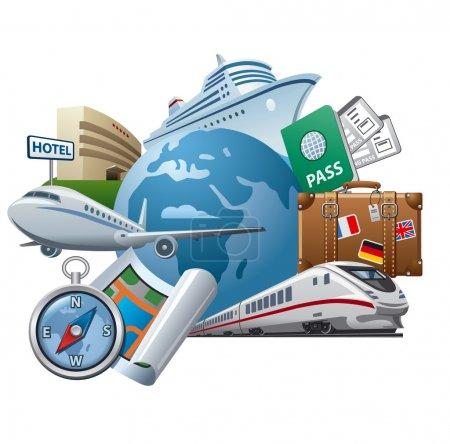 Illustration pour Icône concept voyage et tourisme - image libre de droit