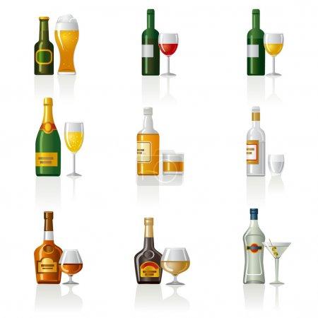 Illustration pour Alcool boissons icône ensemble - image libre de droit