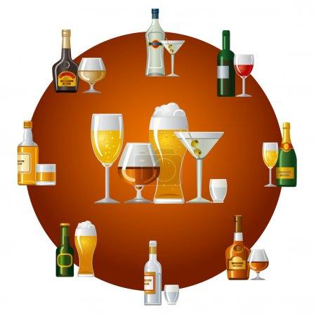 Illustration pour Alcool boissons icône - image libre de droit