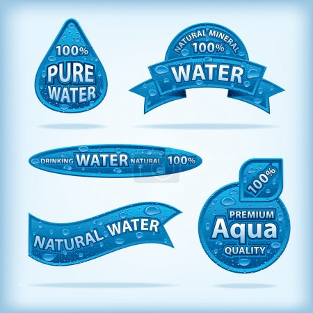 Illustration for Natural water labels - Royalty Free Image