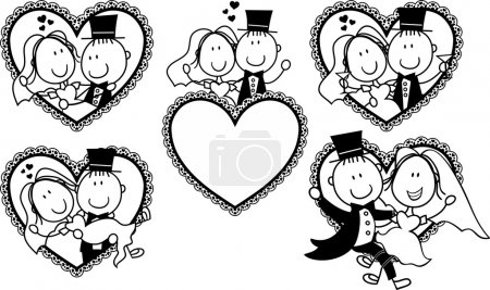 Illustration for Set of isolated cartoon couple in heart shape frame, ideal for funny wedding invitation - Royalty Free Image
