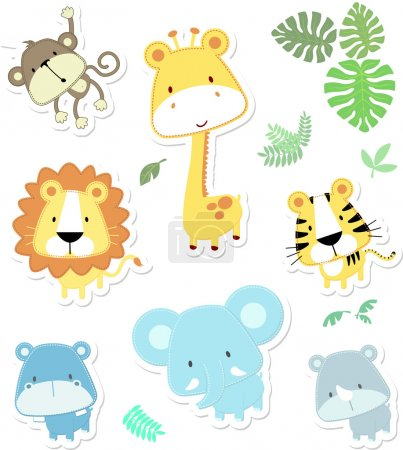 Vector cartoon illustration of seven baby animals ...