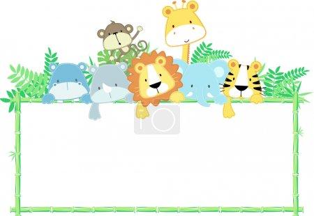 Vector cute animals frame