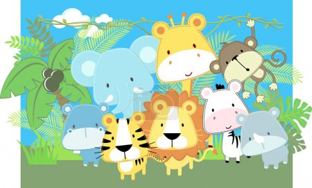 Illustration for Vector illustration of cute jungle baby animals and jungle plants - Royalty Free Image
