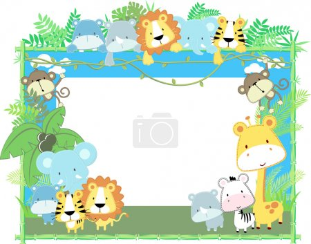 Illustration for Cute jungle baby animals jungle plants and bamboo frame, vector format very easy to edit, individual objects - Royalty Free Image