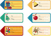 Set of six christmas gift tags isolated on white background vector format very easy to edit individual objects