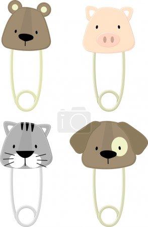 Cute baby animals safety pins set