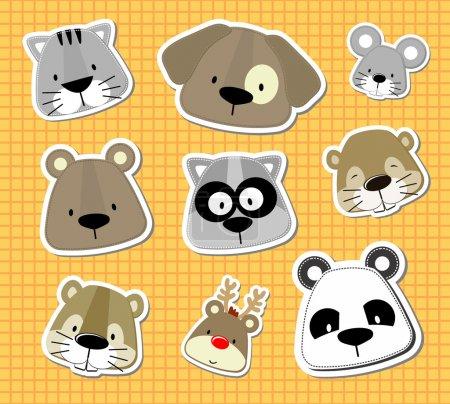 Animal baby vector stickers