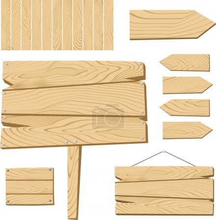 Illustration for Set of sign board and wooden objects isolated on white background, useful for many applications, in vector format very easy to edit, individual objects - Royalty Free Image