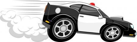 Illustration pour Rapide voiture de police dessin animé isolé sur fond blanc - image libre de droit