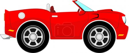 Funny red convertible car cartoon