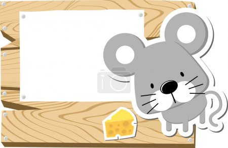 Illustration of cute mousy with wooden blank board...